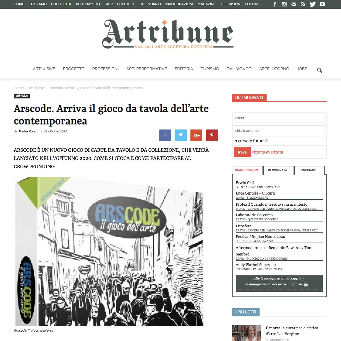 Arscode. Arriva il gioco da tavola dell'arte contemporanea | Artribune