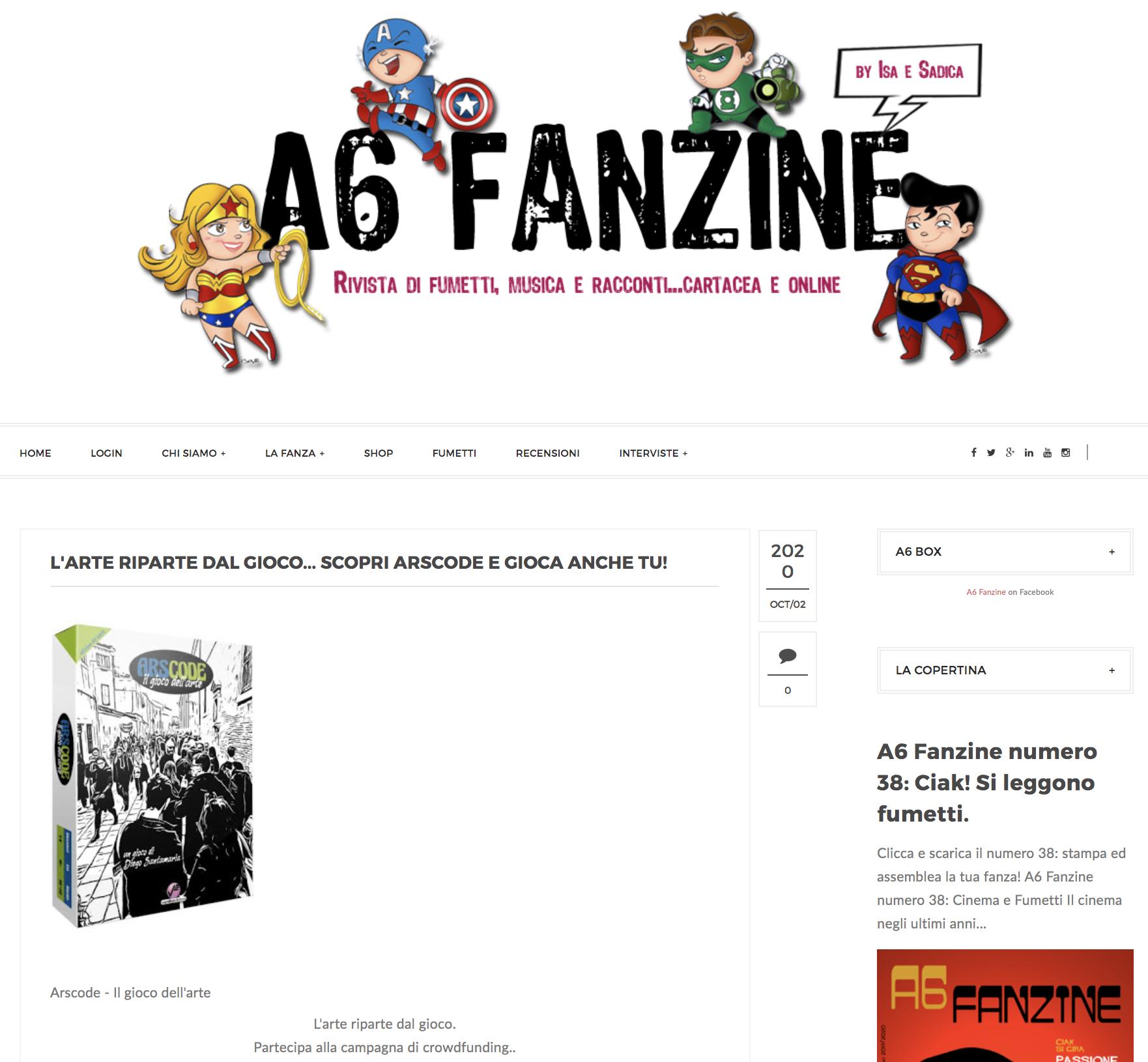 L'ARTE RIPARTE DAL GIOCO… SCOPRI ARSCODE E GIOCA ANCHE TU! | A6 Fanzine