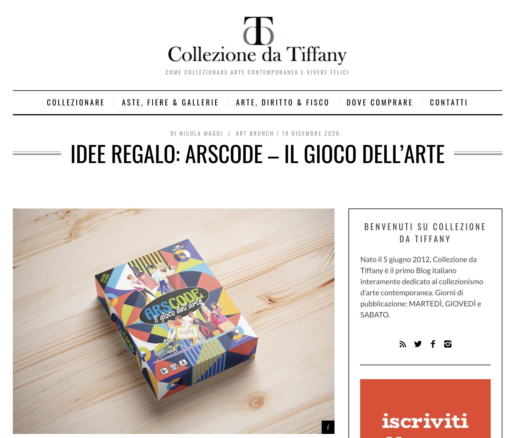 IDEE REGALO: ARSCODE – IL GIOCO DELL'ARTE | Colazione da Tiffany