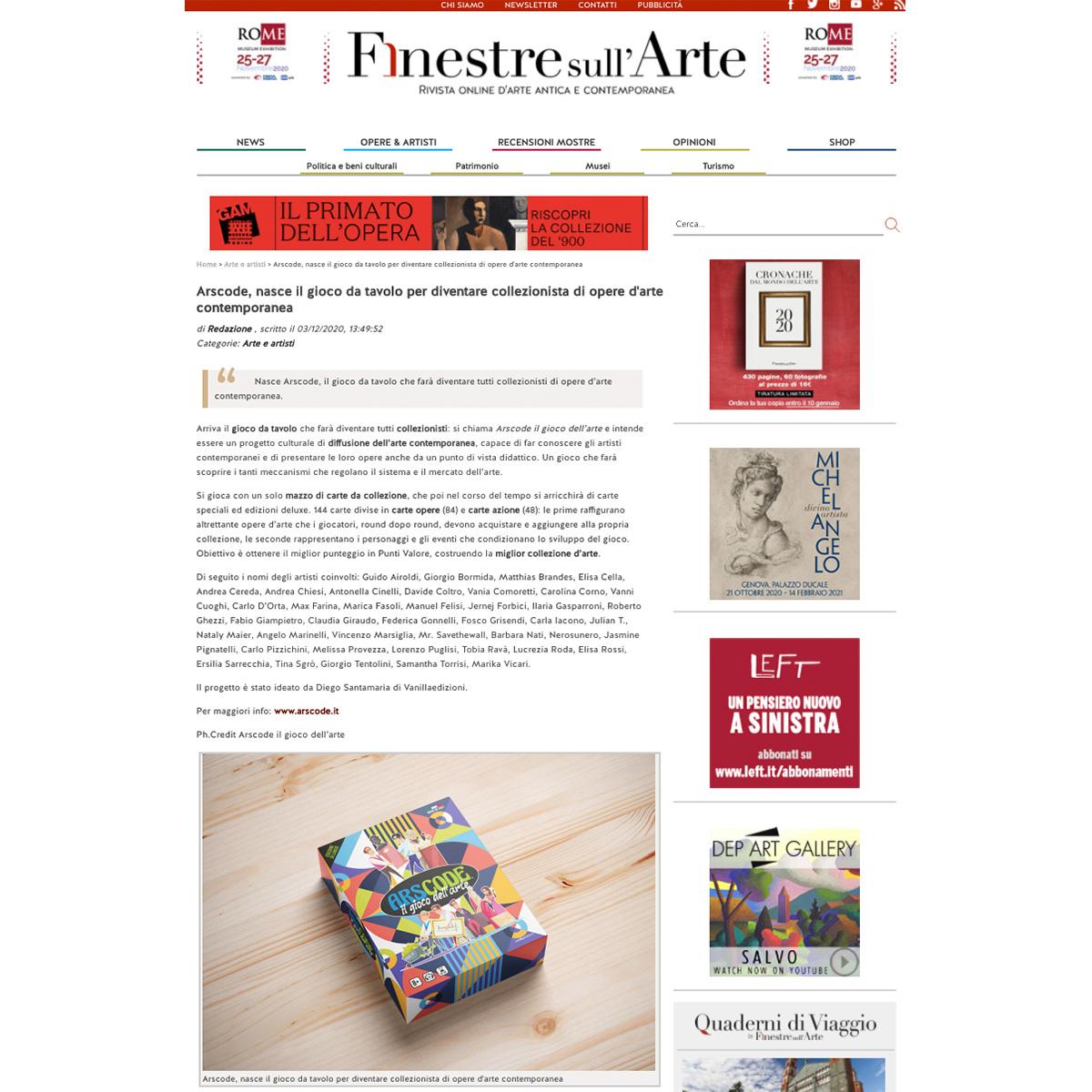 Arscode, nasce il gioco da tavolo per diventare collezionista di opere d'arte contemporanea | Finestre sull'Arte