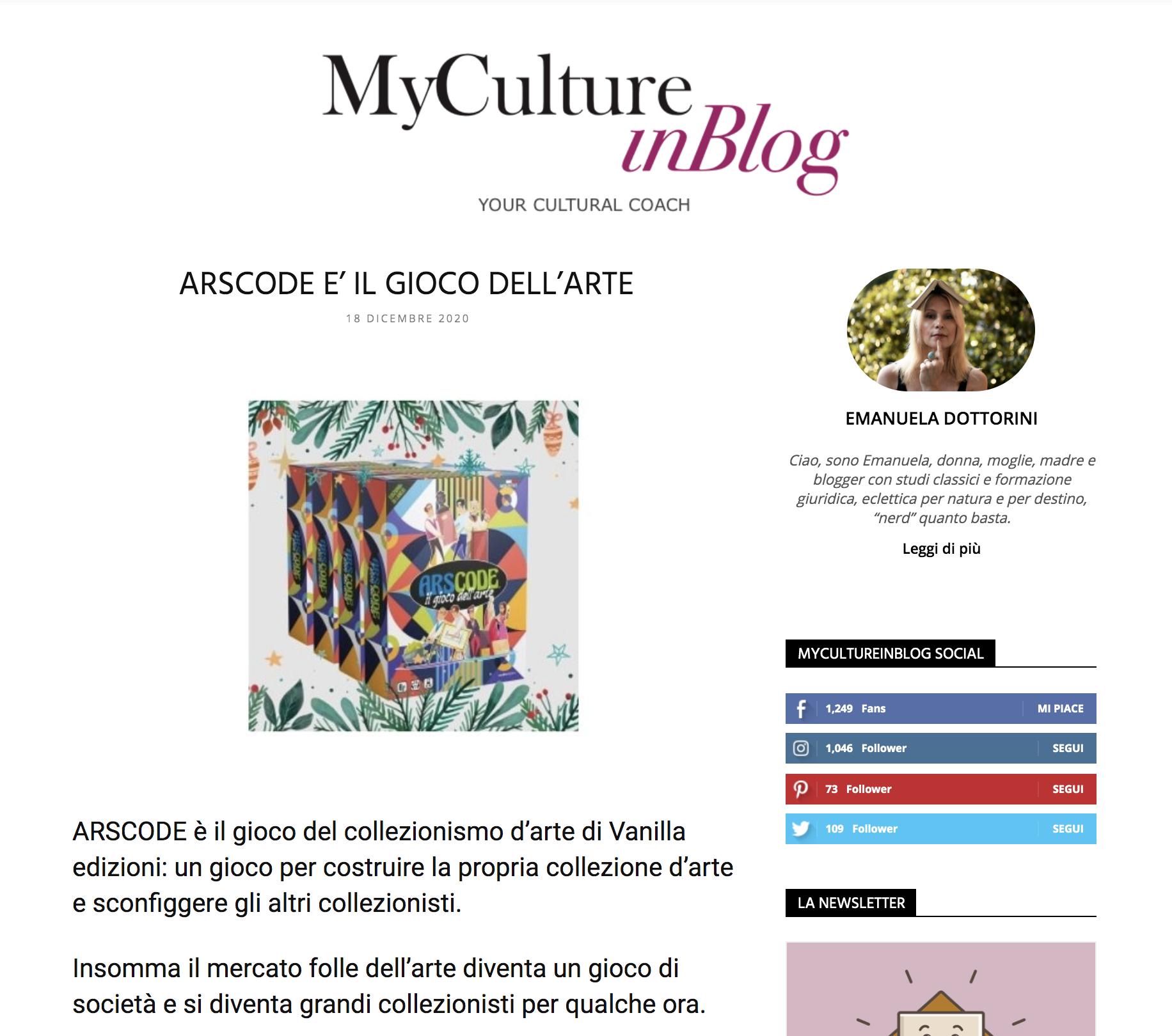 ARSCODE È IL GIOCO DELL'ARTE | My Culture in Blog