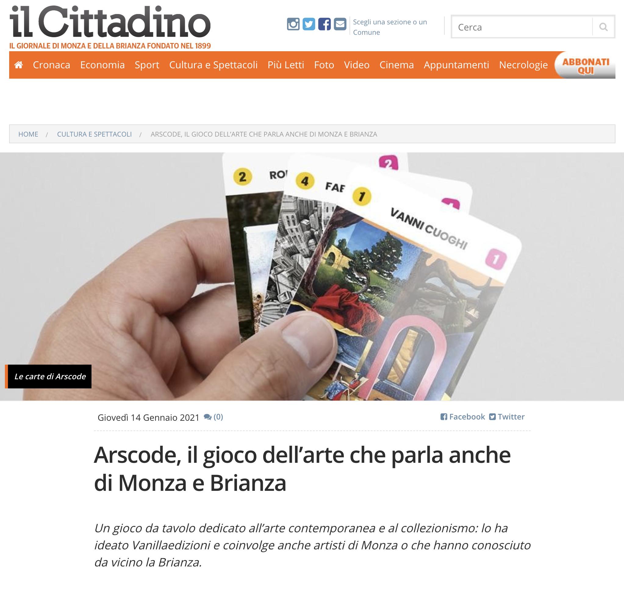 Arscode, il gioco dell'arte che parla anche di Monza e Brianza | Il Cittadino Monza e Brianza